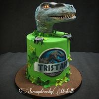 Jurassic World cake with Raptor