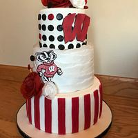 Bucky badger Wisconsin birthday cake