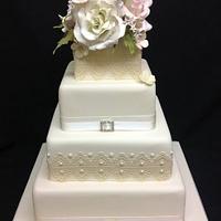 Vintage cake lace, sugar roses, jasmine and hydrangea
