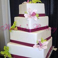 Damask Fondant Cake Sugar Orchids