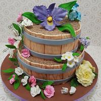 Floral barrel cake