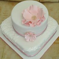 Large Open Rose Wedding Cake