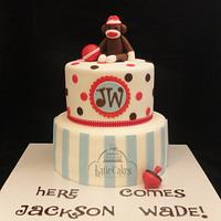 Sock Monkey Babyshower Cake