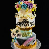 #wedding cake#fondent cake#gumpaste flowers