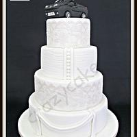Surprise lace dreams wedding cake