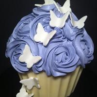 Roses and Butterflies Giant Cupcake