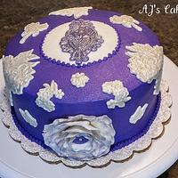 Purple and White Lace Cake