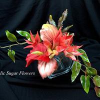 Frangipani bouquet flowers sugar paste
