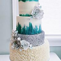 Teal buttercream wedding cake