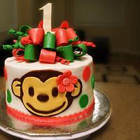 Mod monkey 1st birthday cake