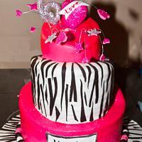 Hot Pink and Zebra Stripe Topsy Turvy Birthday Cake
