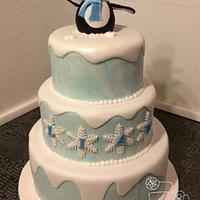 Penguin christening cake