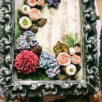 Arreglo flores de glasa y galleta marco envejecida!