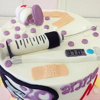 Nurse fondant cake by nectarcupcakes