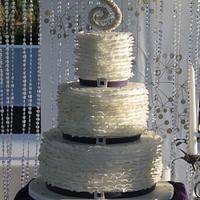 white ruffle with gold and silver sparkle