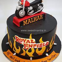 Royal Enfield theme customized cake with 3D edible fondant bike