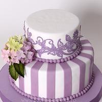 Hydrangeas and purple lace