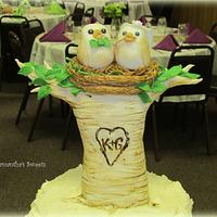 Love Birds Tie the Knot Wedding Cake