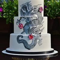 Handpainted Japanese dragon tattoo inspired cake