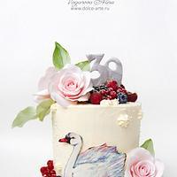 white swan cake