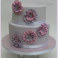 Grey, pink & lilac ruffle rosette