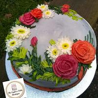Fresh cream cake decorated with buttercream flowers