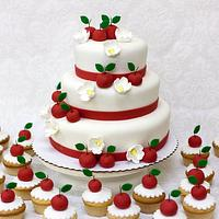 Apple Themed Wedding Cake and Cupcakes