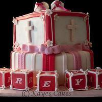 Christening/1st Birthday Cake by Kaye