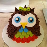 1st birthday owl smash cake