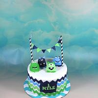 Blue and green monster cake