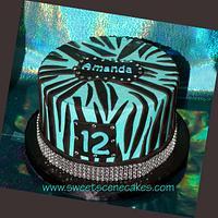 Tween Zebra Bling Cake