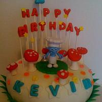 Small Time Smurf Birthday cake
