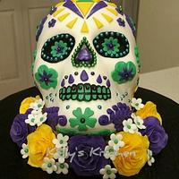 Sugar skull wedding cake