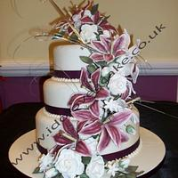 Lily and Rose Wedding Cake