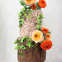 Rustic Rununculus Wedding Cake