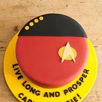 Rainbow layers Star Trek cake