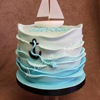 Simple sail boat cake