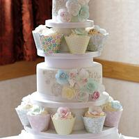 Wafer paper wedding cake and cupcakes