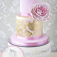 Giant Peony and Gold Leaf Cake by Windsor Cake Studio