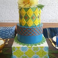 Cuban Tile Themed Styled Shoot Cake