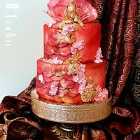 "red saree cake for ""beautiful Sri Lanka"" collab"