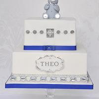 Silver & blue Christening cake