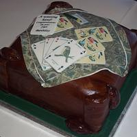 A Winning hand! Birthday cake for elderley whist player-  with Yorkshire Mouseman furniture.