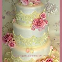 Vintage Dusky Rose Wedding Cake ~
