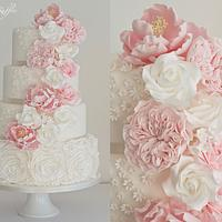 Cascading Flowers & Ruffle Roses