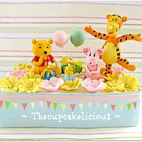 Pooh Bear picnic sugar figurines