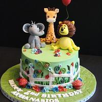 Animals themed cake