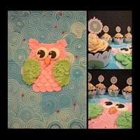 Owls... cupcakes and cake board