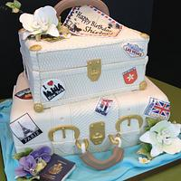 Suitcase and travel cake