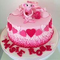 Angelina Ballerina pink ruffle cake by jodie